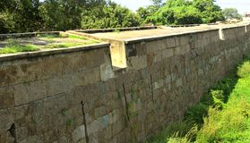 The big castle wall with trees  landscape. At Vellore. this fort is a  16th-century fort situated in the Vellore city, in the state of Tamil Nadu, India built Stock Images