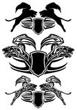 Big cat  vector emblems. Winged fantasy lion design - heraldic shields emblems - black and white collection Stock Photos