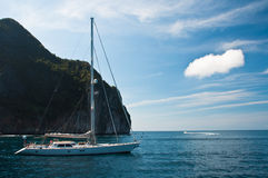 Big catamaran anchored at phu-ket in thailand Royalty Free Stock Photo