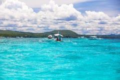Big catamaran in turquoise open sea near Bohol Stock Images