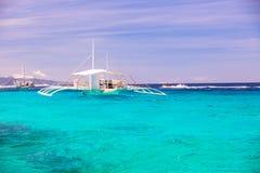 Big catamaran in turquoise open sea near Bohol Royalty Free Stock Photography
