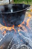 Big cauldron on campfire Stock Image