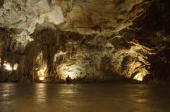 Big cave hall. Big hall in the Postojna cave, Slovenia Stock Photos