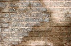 Big Cement Concrete Brick Block Wall Pattern. Half Weathered Stock Images