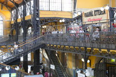 The big central market of Budapest, a place of visiting of tourists for purchases of sausages of a paprika of souvenirs. BUDAPEST, HUNGARY - 21 AUGUST 2017: The Royalty Free Stock Photos