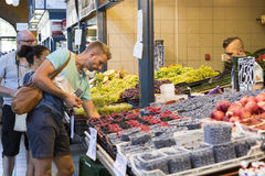 The big central market of Budapest, a place of visiting of tourists for purchases of sausages of a paprika of souvenirs. BUDAPEST, HUNGARY - 17 AUGUST 2017: The Royalty Free Stock Photography