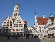 Central square with the townhall in Biberach, Germany. The big central square in Biberach with typical architectures and the townhall stock photo
