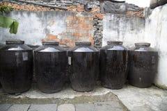 Big ceramic jars in distillery Royalty Free Stock Photos
