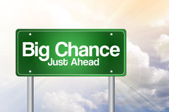 Big Chance, Just Ahead Green Road Sign Stock Image