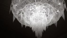 Big chandelier in a hall. Steadicam shot stock video footage