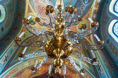 Big chandelier over the dome of the Vladimir Church. Big chandelier over the dome of the Vladimir Cathedral Chersonese Tavricheskiy  in Sevastopol, Ukraine Royalty Free Stock Photos