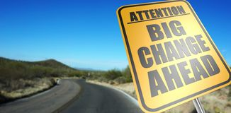 Big change ahead road sign stock images