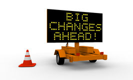 Big changes. Roadworks cart with signboard displaying big changes warning Royalty Free Stock Image