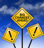Big changes ahead signs. On blue sky royalty free stock photo