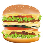 Big cheeseburger. Photo-realistic illustration of the big cheeseburger isolated on the white background vector illustration