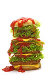 Big cheeseburger with ketchup Royalty Free Stock Images