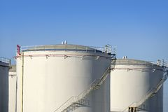 Big chemical tank petrol container oil industry. Big chemical tank petrol container on oil petrochemical industry Stock Image
