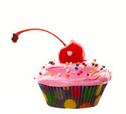Big Cherry Cupcake Stock Photography