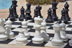 Big chess for game on a beach Stock Image