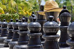 Big chess for game on a beach Stock Photo