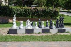 Big chess in a garden Stock Photo