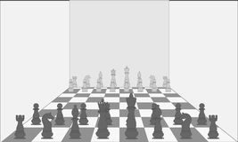 Big chess pieces in an empty room. Vector. Illustration royalty free illustration