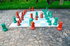 Big chess set in the park Royalty Free Stock Photo
