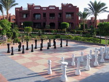 A big chessboard. Full view of a nice chessboard in a red sea village Stock Image