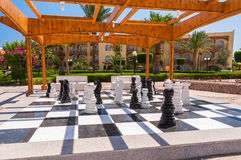 Big chessboard outdoor in tropical garden. With clear blue sky Royalty Free Stock Photos