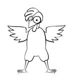 Big chicken with a crest. Is isolated on a white background Stock Images