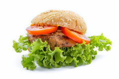 Big chicken hamburger. On white backgroung Royalty Free Stock Photography
