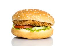 Big chicken hamburger on white stock image