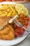 Big Chicken schnitzel with homemade chilli french fries Stock Image
