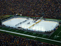 The Big Chill at the Big House national anthem. The National Anthem before The Big Chill at The Big House outdoor hockey game between Michigan and Michigan State Stock Photo