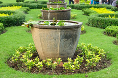 Big Chinese plant pots in public garden Royalty Free Stock Image