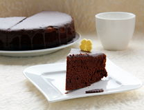 Big chocolate cake. With chocolate frosting Royalty Free Stock Image