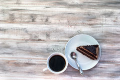 Big chocolate cake with chocolate frosting Royalty Free Stock Photo