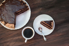 Big chocolate cake with chocolate frosting Stock Photos