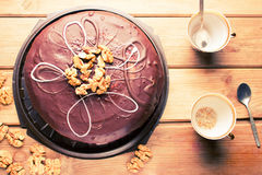 Big chocolate cake Royalty Free Stock Photography