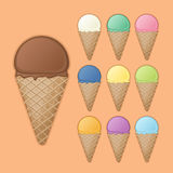 Big chocolate cone with various fruit ice cream. Stock Image