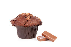 Big chocolate cupcake Stock Images
