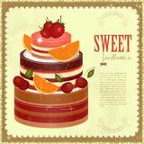 Big Chocolate Fruit Cake. Vintage pastry Menu - Big Chocolate Fruit Cake with oranges and cherries - Retro background with place for text -  illustration Royalty Free Stock Image
