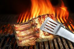 Big Chop Of Pork Ribs On The Flaming BBQ Grill Royalty Free Stock Photo