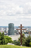 Big christian cross in Slavin and cityscape of Bratislava, Slova Stock Photo
