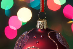Big Christmas  baubles and candles on dark Stock Images