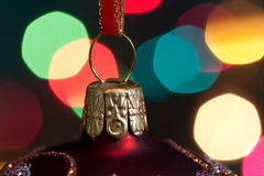 Big Christmas  baubles and candles on dark Royalty Free Stock Photography