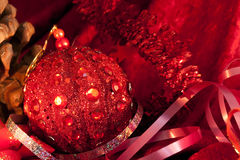 Big Christmas  baubles on dark Stock Image