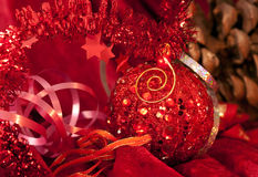 Big Christmas  baubles on dark Stock Photo
