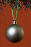 Big Christmas baubles and fir branches Stock Image