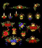 Big Christmas decoration with street light. Big Christmas decoration set with street lamps candles and evergreen leaves and decor Royalty Free Stock Photos